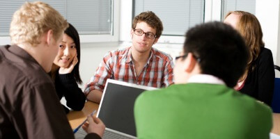 Higher education students studying academics